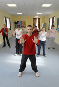 fitness instructor with group