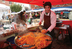 Paella stand at the market