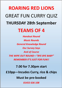curry, quiz, teams of four, Red Lion, Burbage, fun