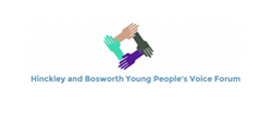 Four hands in a square with Hinckley and Bosworth Young people's voice Forum