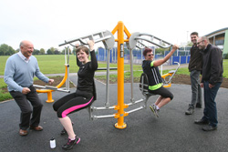 New outdoor gym equipment being tested