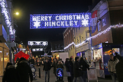 View of Hinckley town centre and Christmas lights