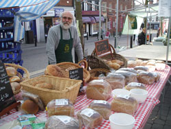 Market stall selling bread