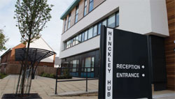 Building and a sign for Hinckley Hub reception and entrance