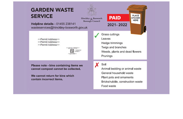 Sticker for the garden waste service