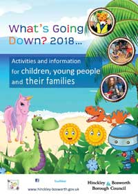 Whats's going down? 2018 brochure cover with animated dinosaur, unicorn, Snappy the Dragon, two sunflowers and a robot