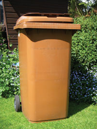 Brown wheeled bin